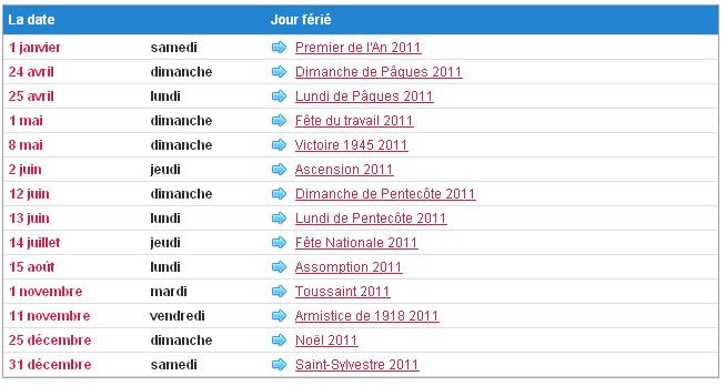 """Un commentaire pour """"Calendrier jours fériés 2011 en France sur"""